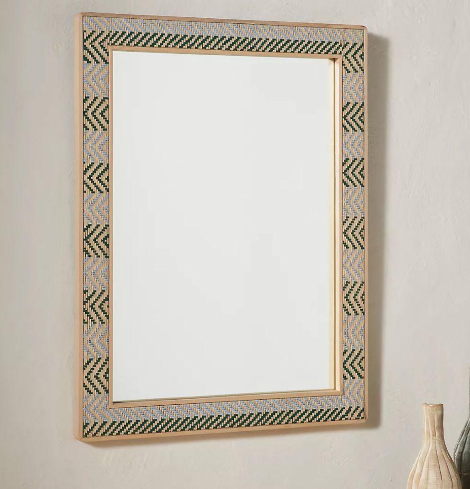 Audrina Woven Leather Mirror
