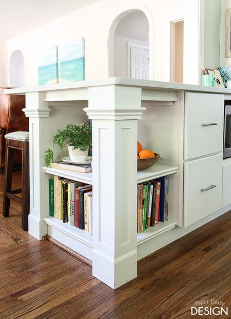 Build A Bookshelf On The End Of Kitchen Peninsula