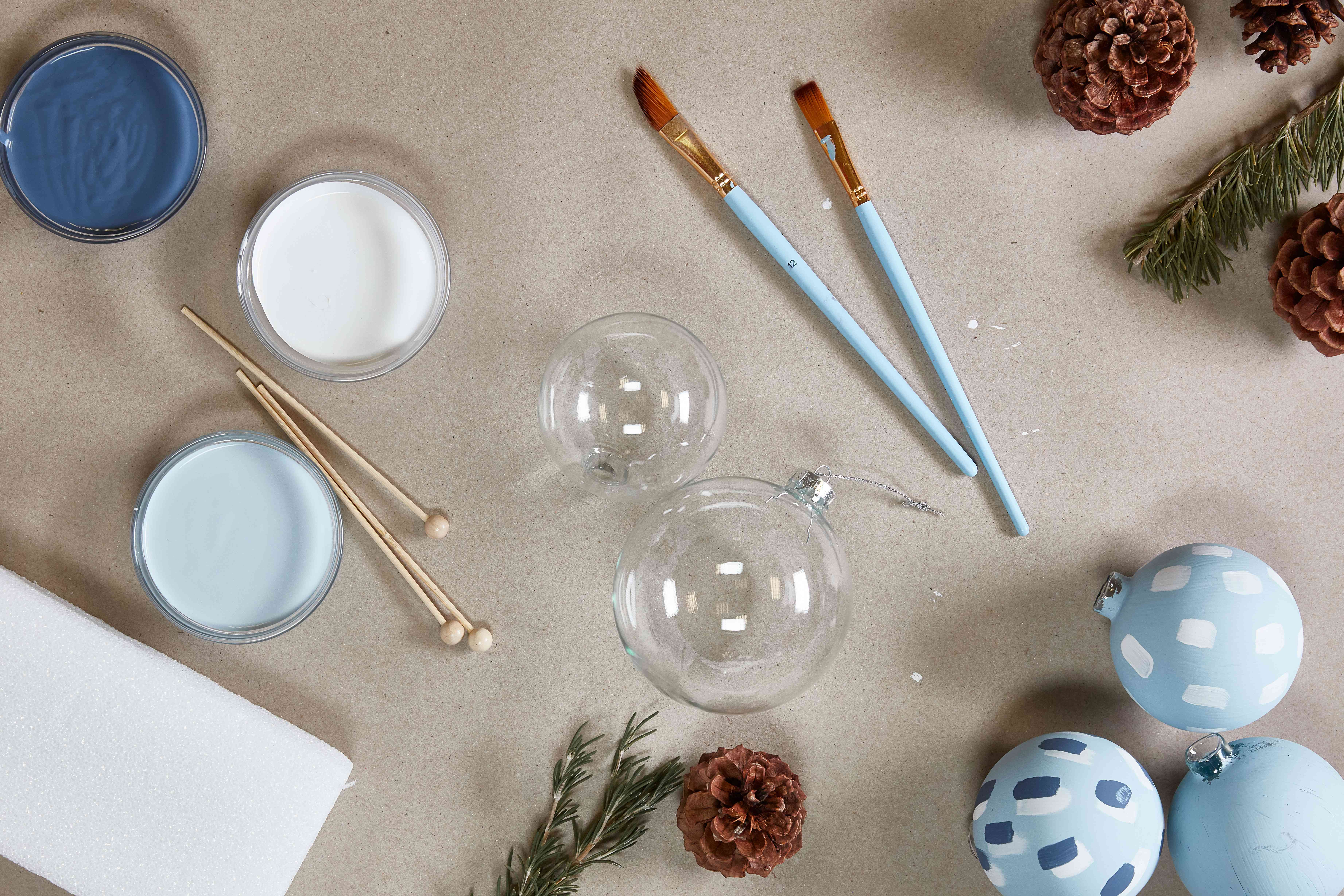 Supplies for painting ornaments