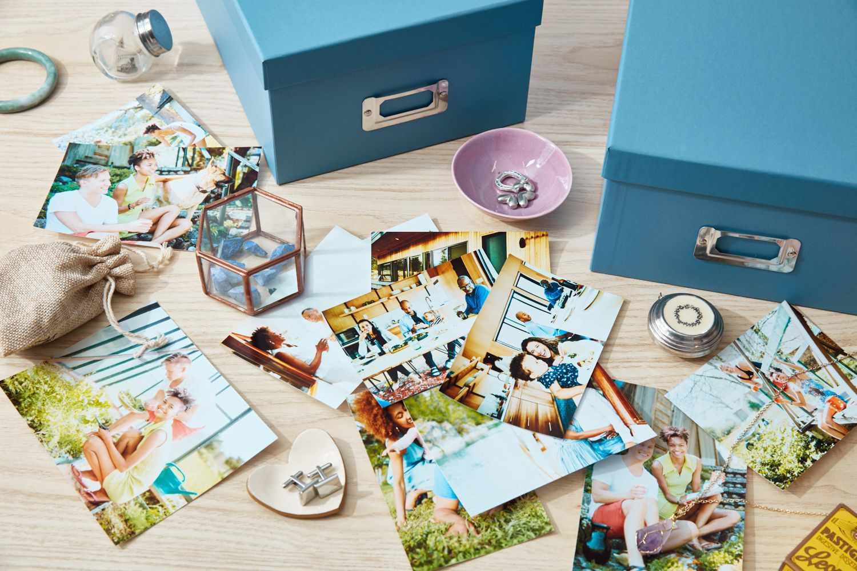 photos and photo storage boxes