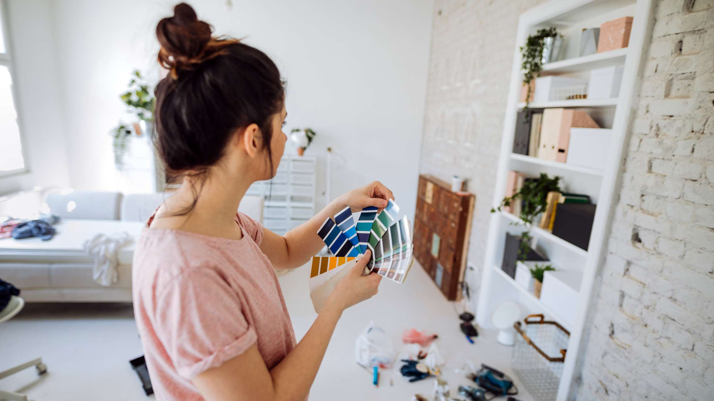 Woman planning for a paint job