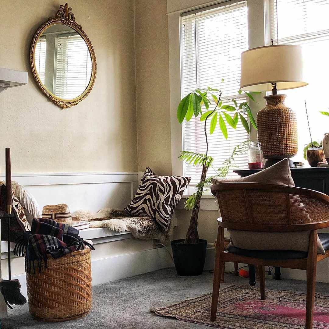 Wicker chair and desk area