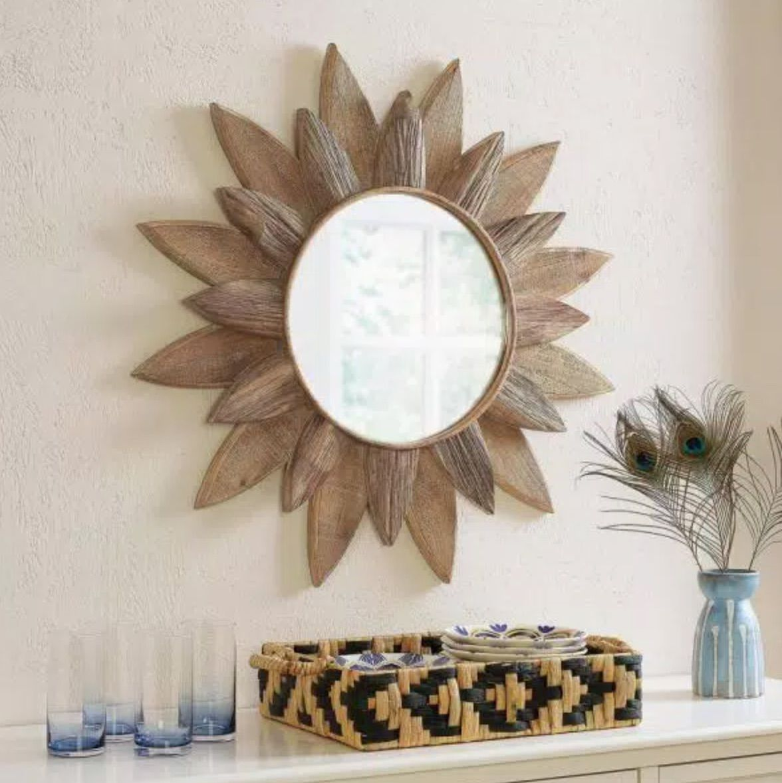 Medium Sunburst Brown Antiqued Art Deco Accent Mirror