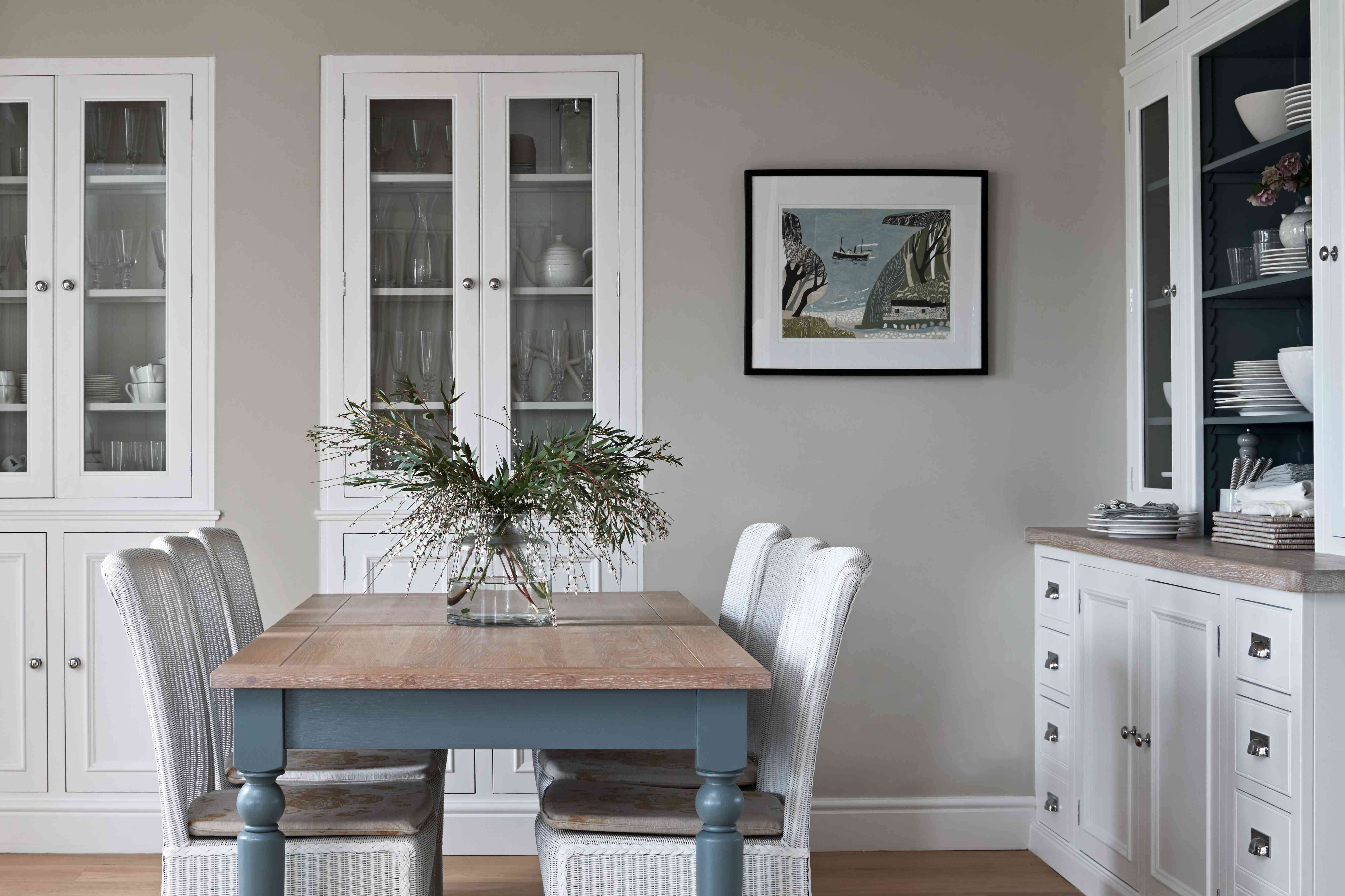 Recessed storage in the dining area/kitchen of Emma Sims-Hilditch's Cornwall home