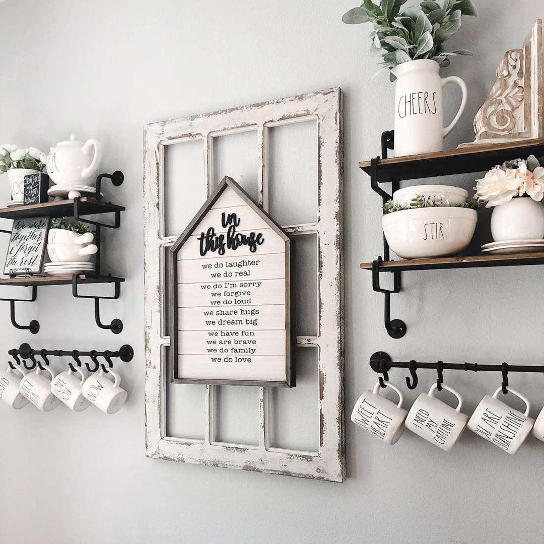 white dishes on shelves and mugs hanging on hooks