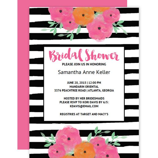 Free printable bridal shower invitations a black and white striped bridal shower invitation with pink and orange flowers maxwellsz