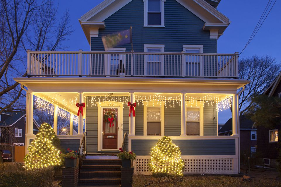 House and porch decorated for Christmas