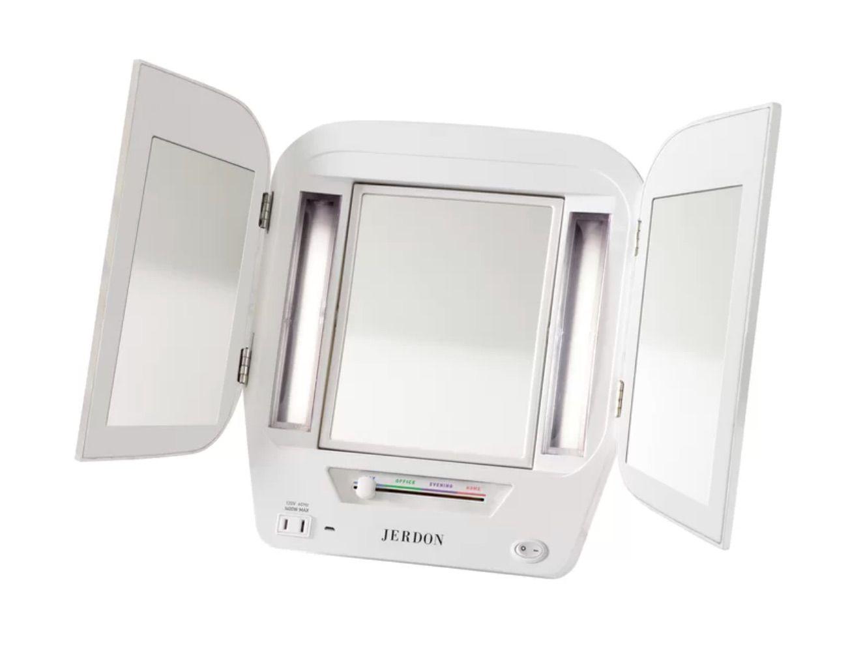 Jerdon-LED-Lighted-Tri-Fold-Makeup/Shaving Mirror