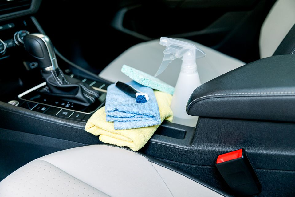 items to clean the interior of a car