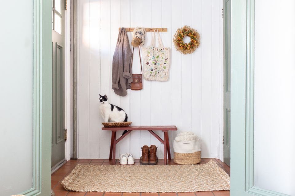 A minimalist, hygge front entryway