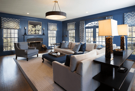 Crisp And Sophisticated Transitional Living Room Painted Dark Blue