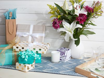 hostess gifts arranged on a table