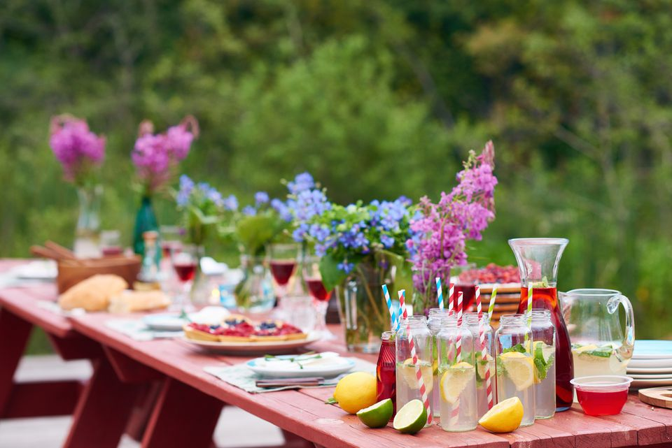 Table set for outdoor party