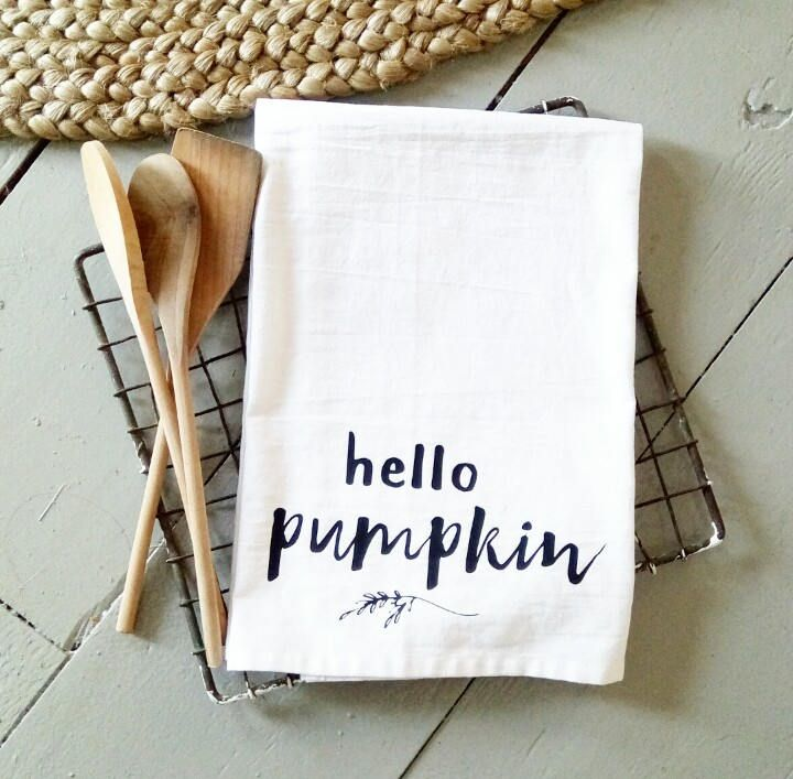 Hello pumpkin dish towel