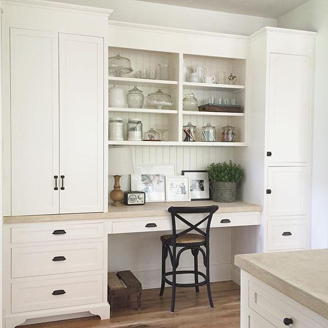 Built-in homework station in farmhouse kitchen
