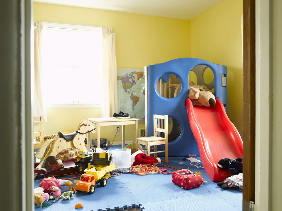 A picture of a cluttered playroom