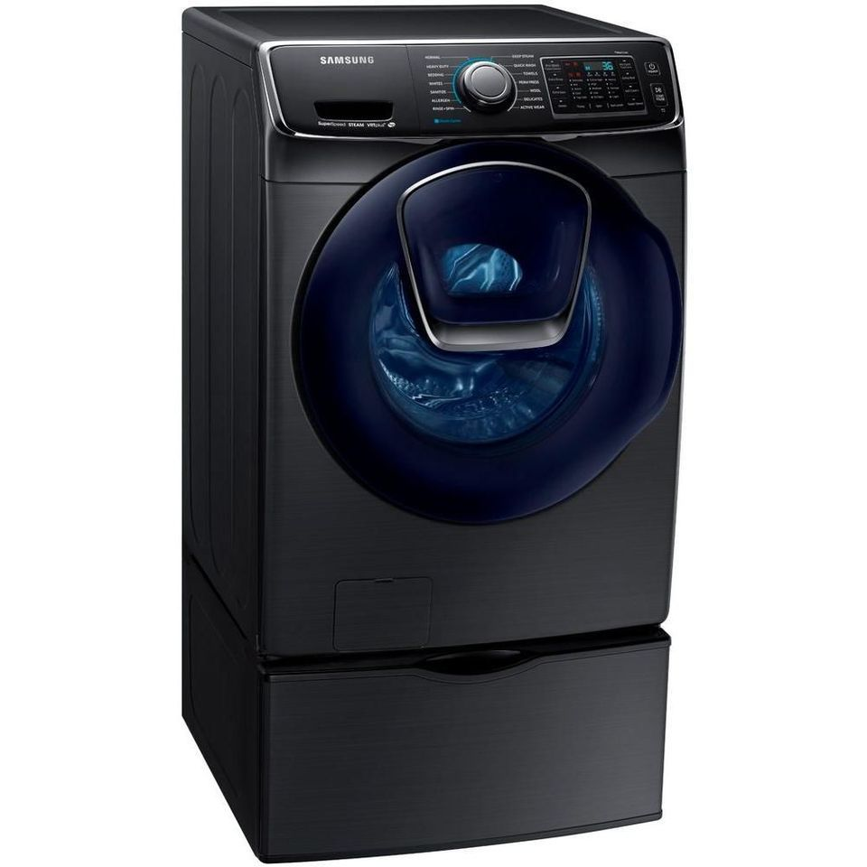 Samsung 4.5 cu. ft. High-Efficiency Front Load Washer with Steam and AddWash Door in Black Stainless Steel, ENERGY STAR