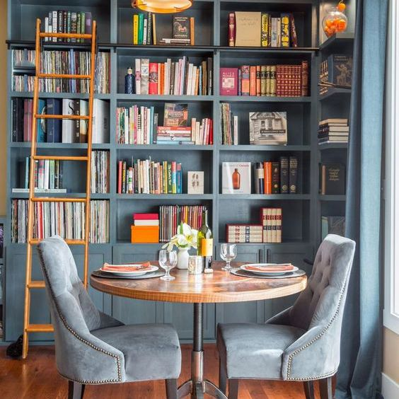Colorful home library in shades of blue and gray