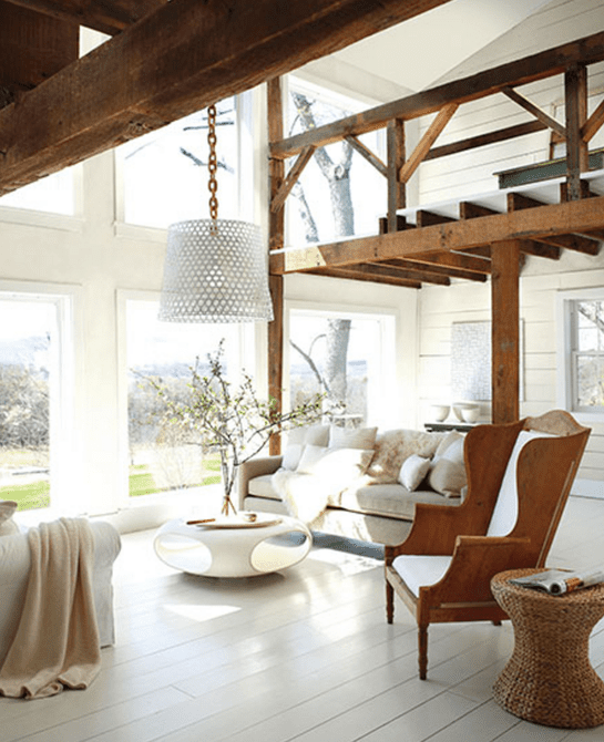 White and wood living space