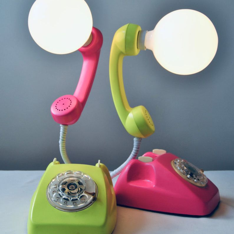 Vintage phone lamps in lime green and hot pink