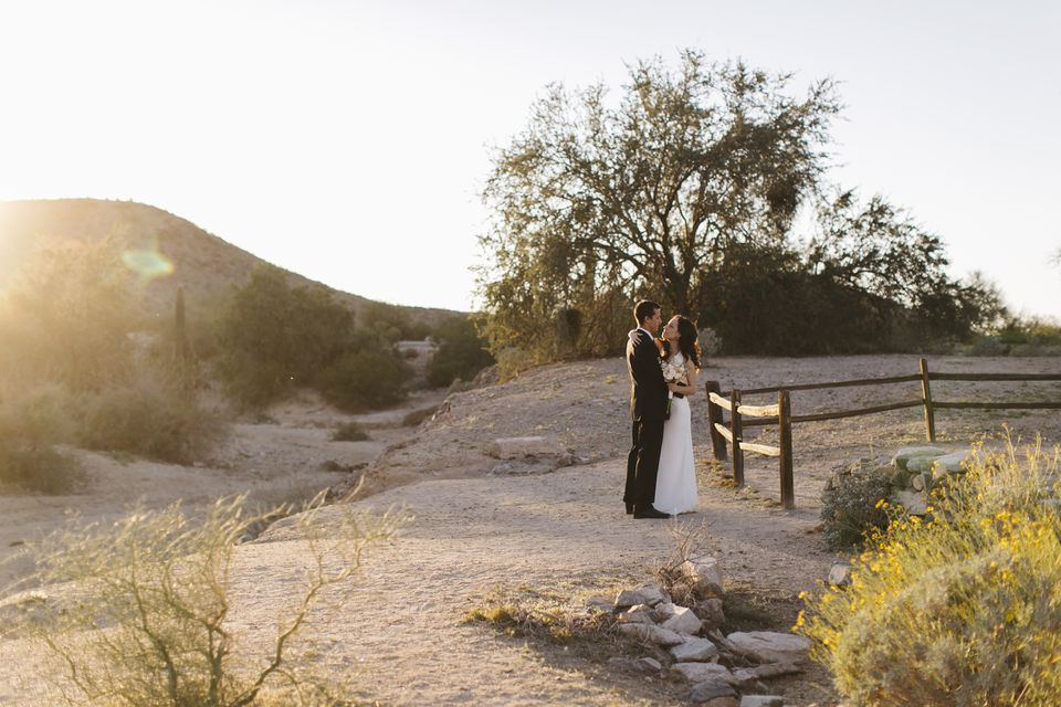 Newlyweds in desert