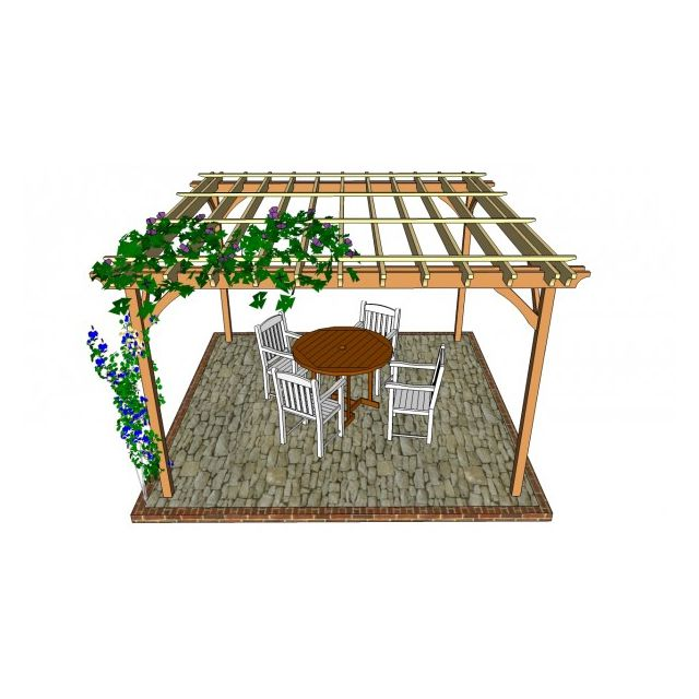 An illustration of a pergola with vines. My Outdoor Plans - 17 Free Pergola Plans You Can DIY Today