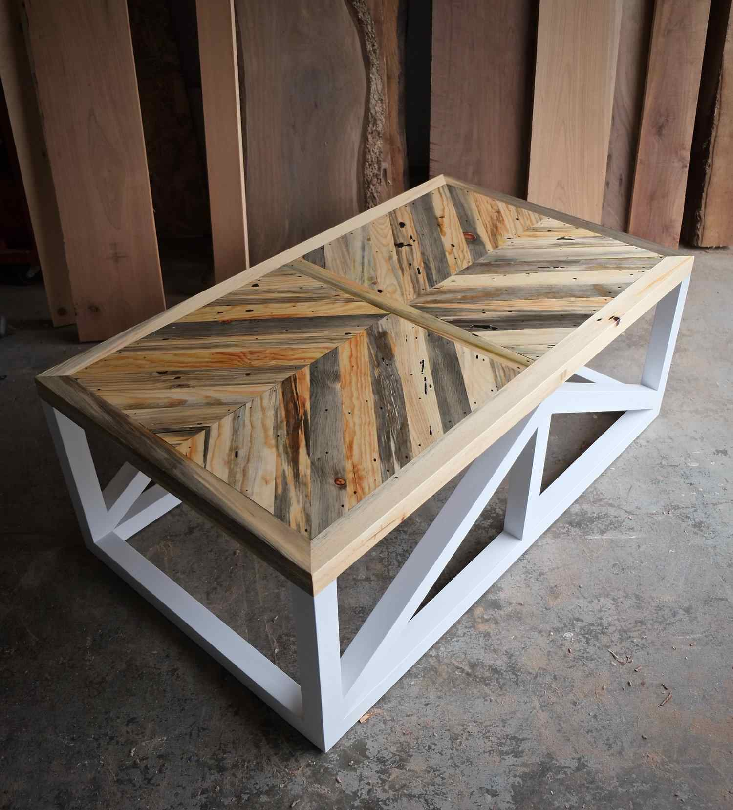patterned wood coffee table