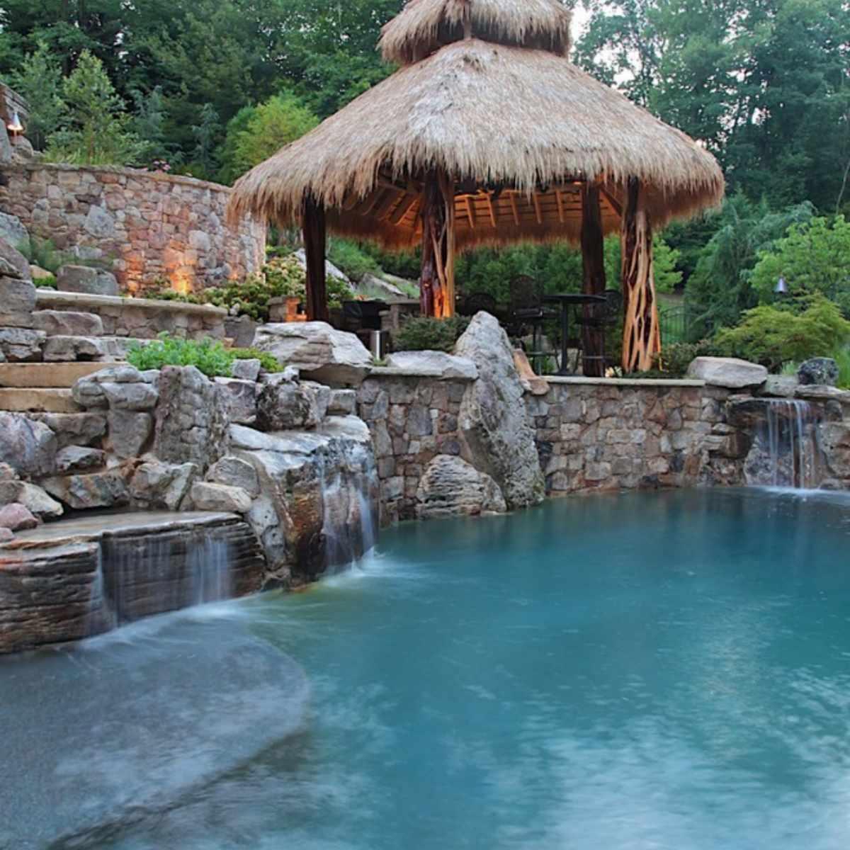 Tropical pool waterfall
