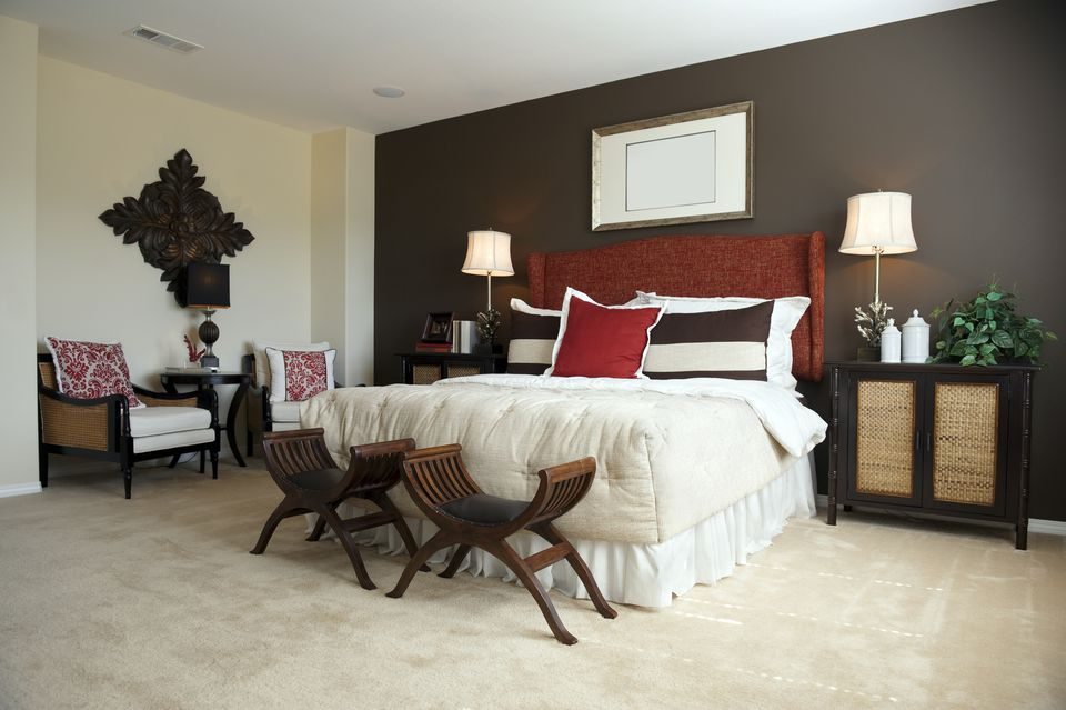 Designer Bedroom With dark Brown Walls