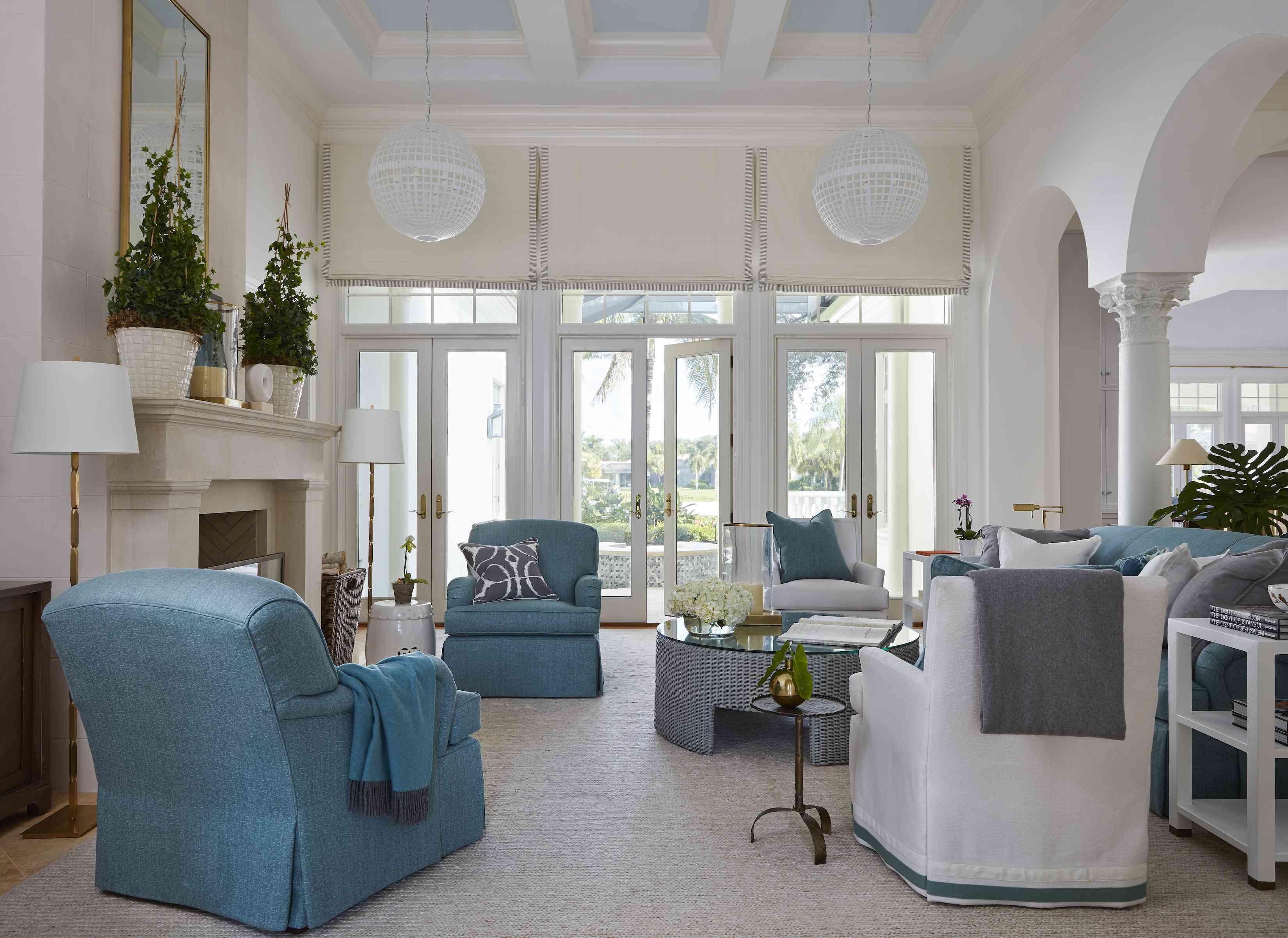 white pendant lighting in living rooms