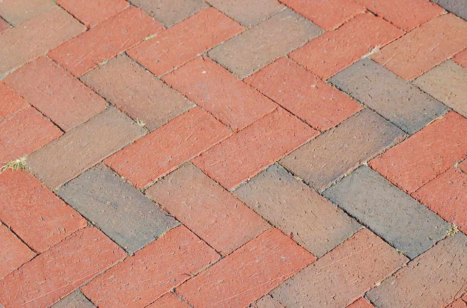 The herringbone pattern (image) is one of the common brick patterns. It is used here on a path.