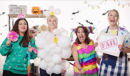 four DIY Halloween costumes against set backdrop