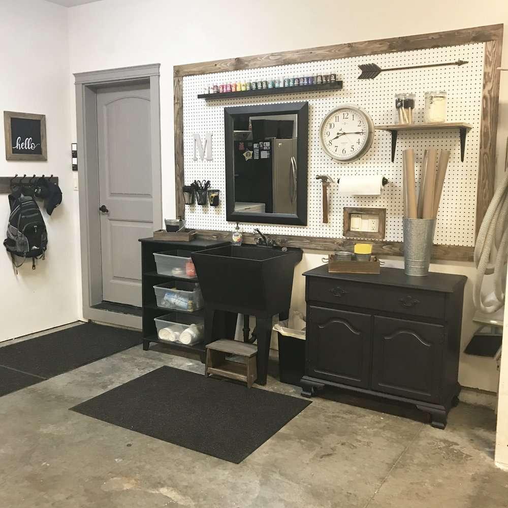 An organized wall in a garage.