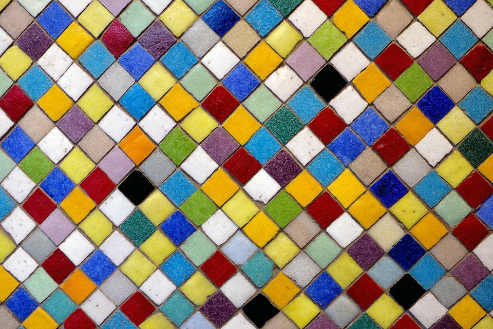 Multi-colored ceramic tiles