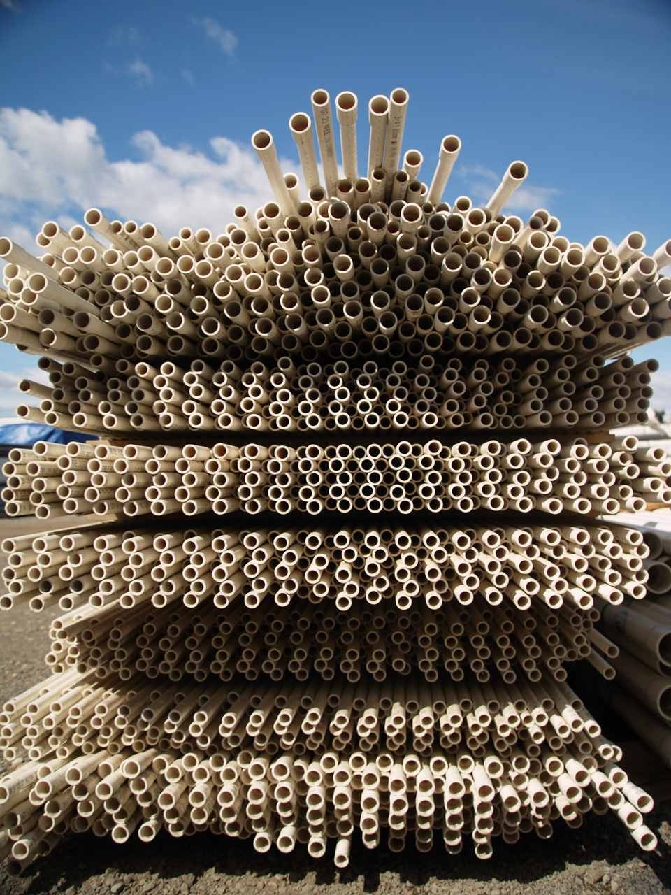 Big stack of PVC piping