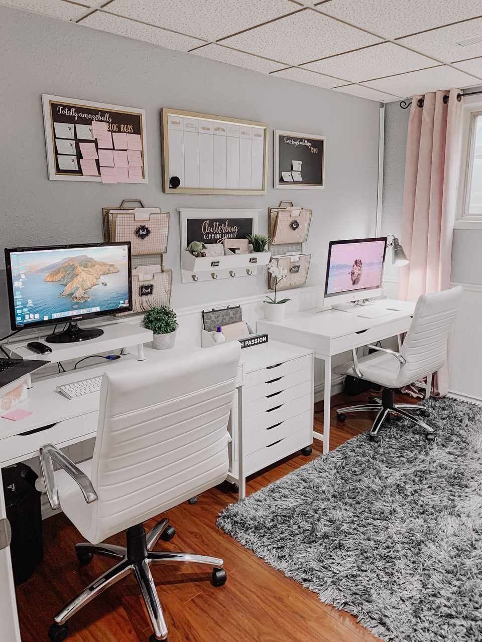 Clutterbug office organization with two whit side-by-side desks