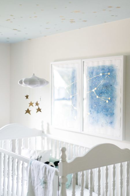 Sweet Star Themed Nursery With Diy Constellation Art