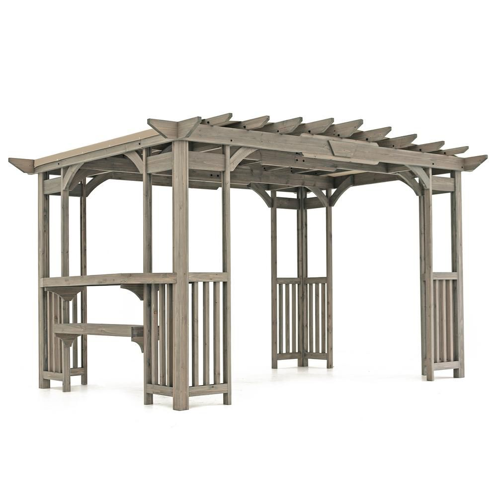 Yardistry 10 ft. x 14 ft. Madison Pergola with Bar and Sunshade