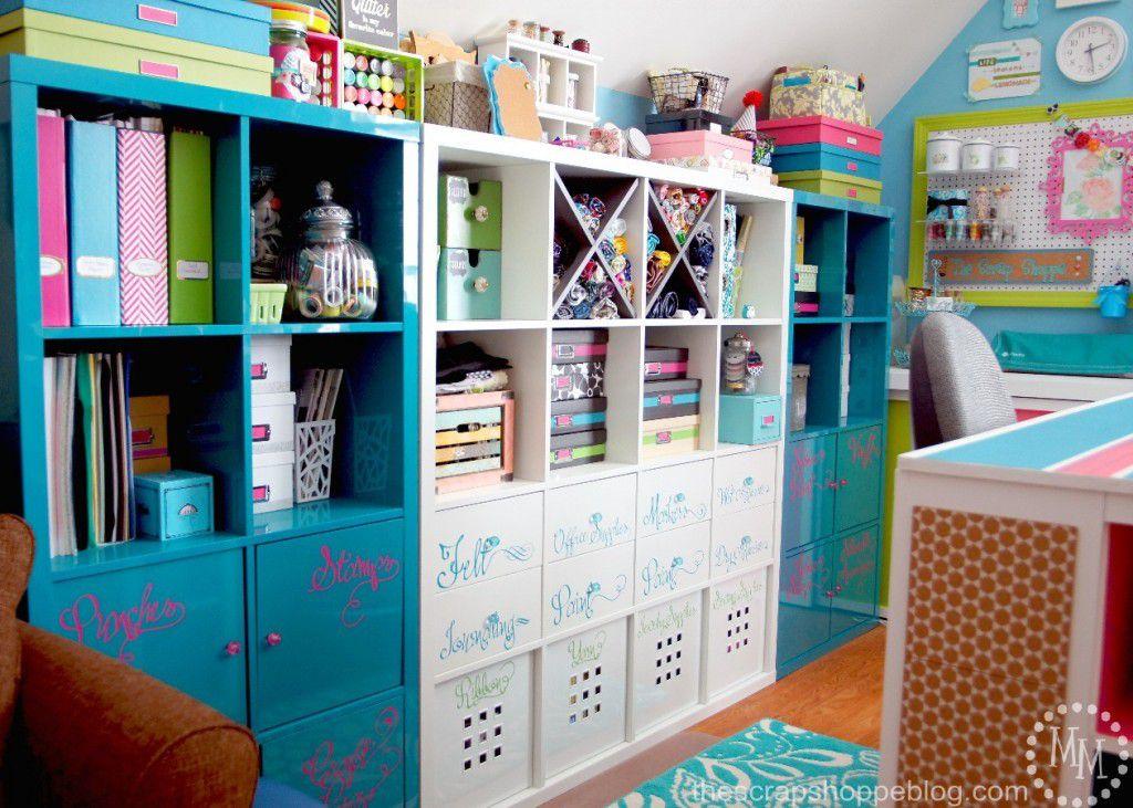 Estanterías de organización de la sala de artesanía