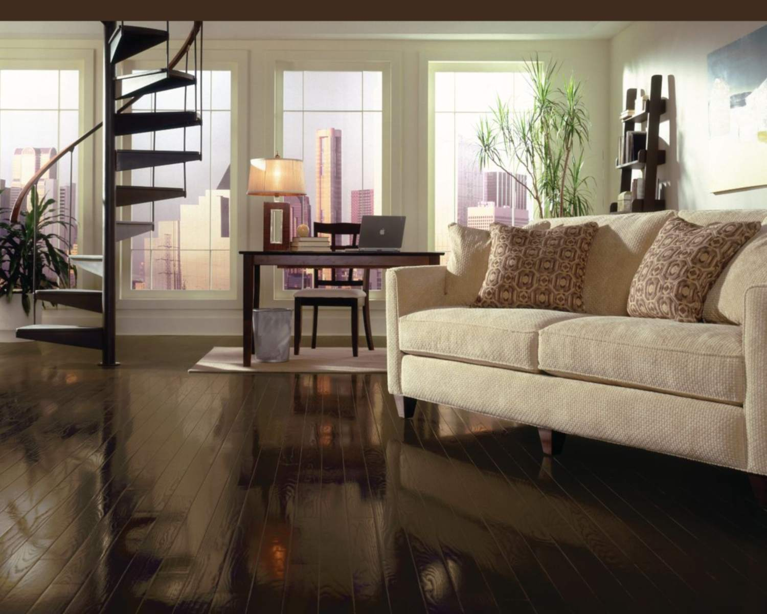 A living room with Bruce Espresso Oak flooring