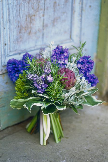 Purple Bridal Bouquet With Artichoke