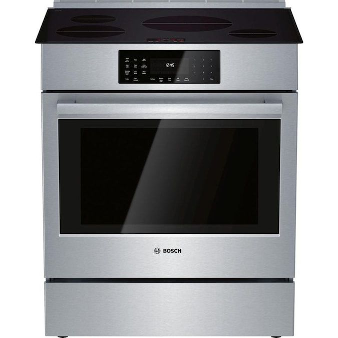 The Bosch HII8056U 800 Series 30 in. 4.6 cu. ft. Slide-In Induction Range has a self-cleaning convection oven.