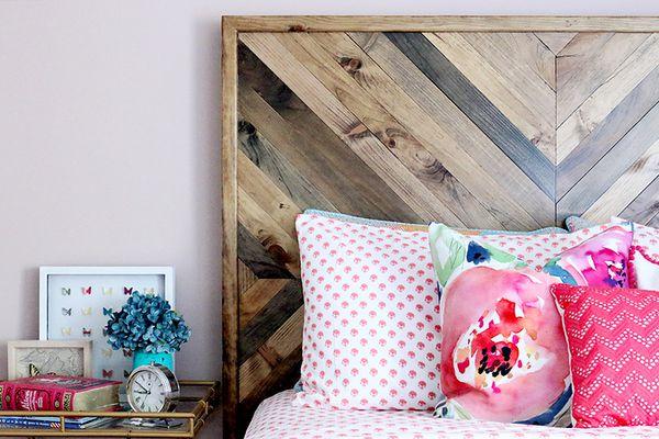 Wooden bed headboard.