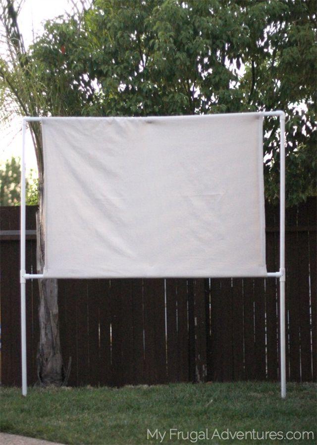 A DIY movie screen in a yard
