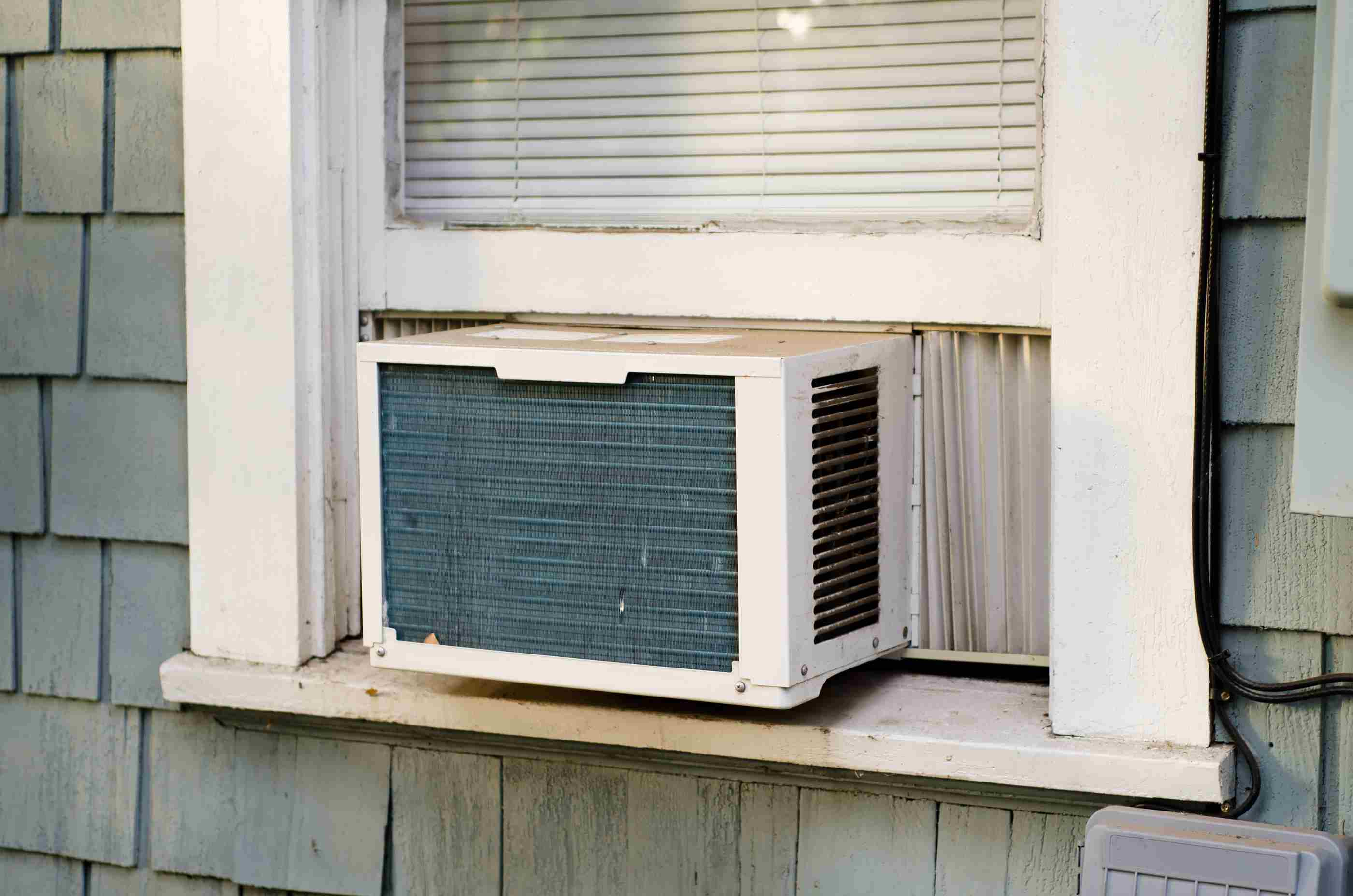 Outside view of window air conditioner.