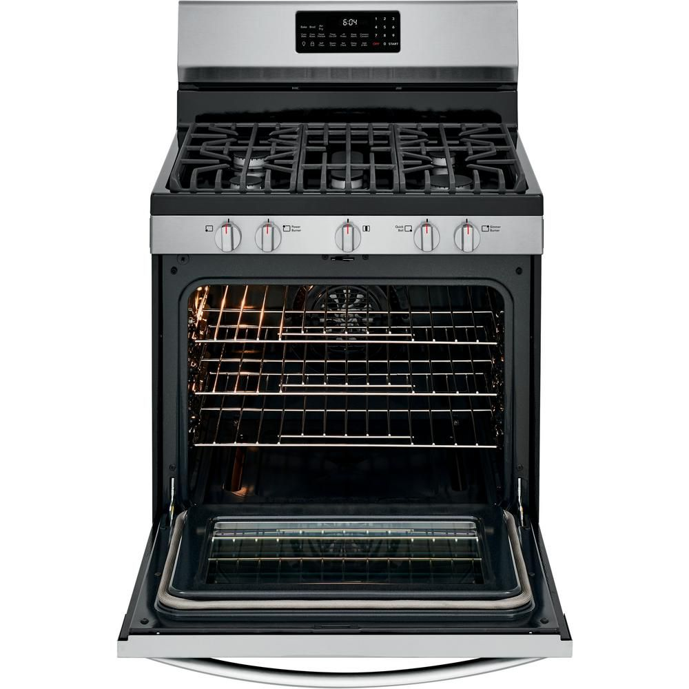 The FRIGIDAIRE GALLERY GCRG3060AF 5.0 cu. ft. Gas Range with True Convection Self-Cleaning Oven has an air fry setting.