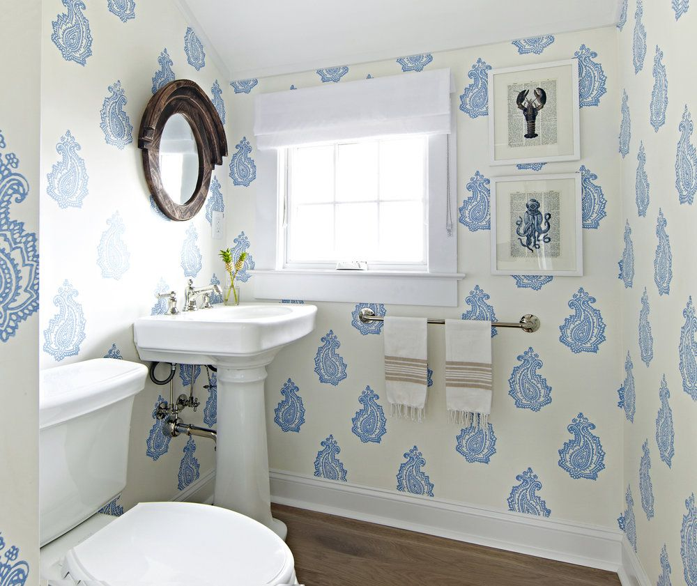 beachy paisley bathroom