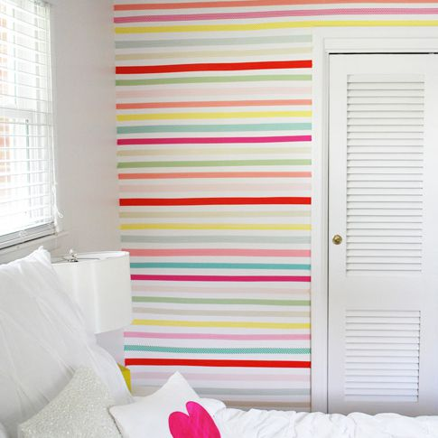 Colorful kids room with washi tape accent wall