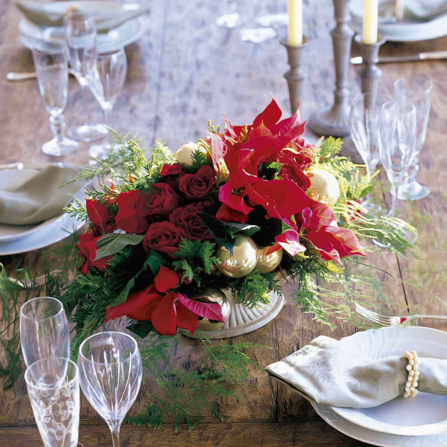 Poinsettia Wedding Reception Flowers
