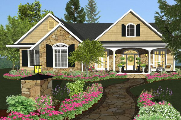Rendering of multi-gabled home with colorful plantings along a stone pathway to the wreathed front door